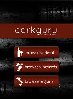CorkGuru iPad wine menu app Homepage Demo