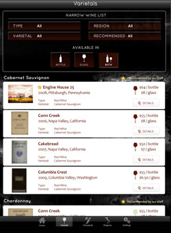 Varietal Page iPad wine list app